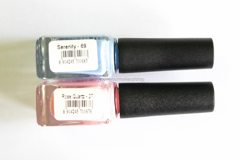 Product Description of Nykaa Pantone Color of the Year Combo Nail Paints Serenity and Rose Quartz