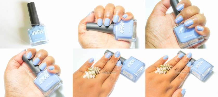 Swatches of Nykaa Pantone Color of the Year Combo Nail Paints Serenity